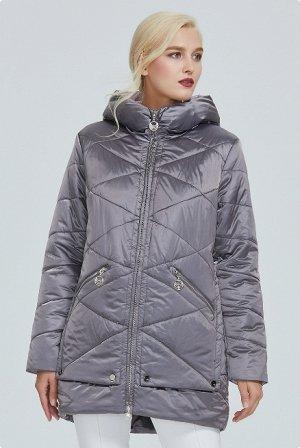 Демисезонная женская куртка на контрастом подкладе, с капюшоном, цвет серый