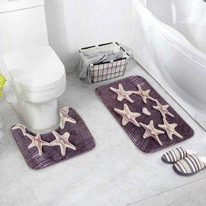Набор ковриков для ванны и туалета Доляна «Звёзды», 2 шт: 40?50, 50?80 см