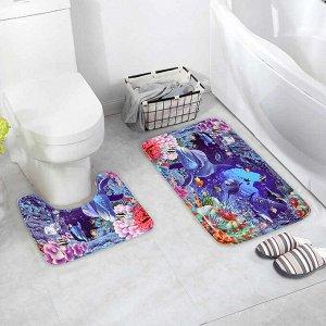 Набор ковриков для ванны и туалета Доляна «Морское дно», 2 шт: 40?45, 45?75 см