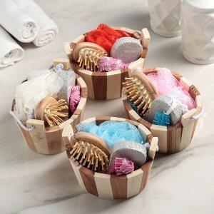 Набор банный, 4 предмета: мочалка, расчёска, шапочка для душа, пемза