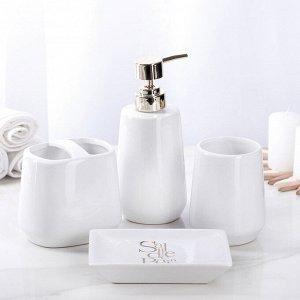 Набор аксессуаров для ванной комнаты Bonjour, 4 предмета (дозатор 400 мл, мыльница, 2 стакана), цвет белый