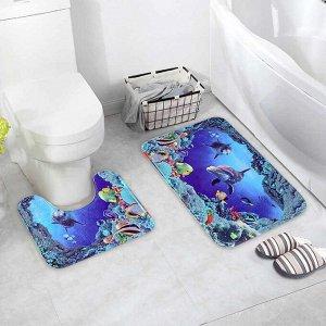 Набор ковриков для ванны и туалета Доляна «Морской мир», 2 шт: 40?50, 50?80 см