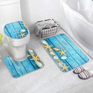 Набор ковриков для ванны и туалета Доляна «Морские звёзды», 3 шт: 35?39, 40?50, 45?75 см