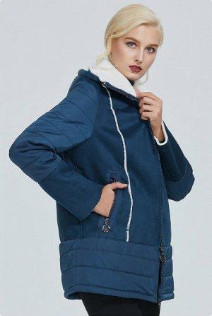 Демисезонная женская куртка с капюшоном, цвет синий