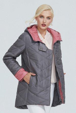 Демисезонная женская куртка с капюшоном, цвет серый