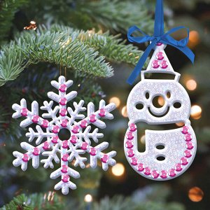 Набор для творчества «Волшебная игрушка» Снеговик и снежинка + клей, пайетки, блёстки