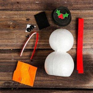 Набор для творчества - создай новогоднее украшение «Снеговик в цилиндре»