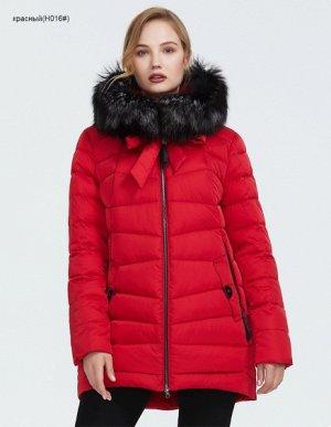 Зимний женский пуховик с капюшоном и мехом Чернобурки, цвет красный