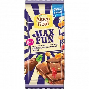 Шоколад Альпен Гольд Макс Фан Взрывная карамель Мармелад и Печенье 160 г