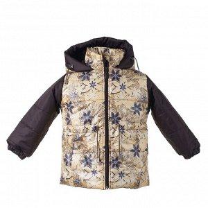Куртка демисезон Арт. 05031 принт цветы с желтым цветом-шоколад