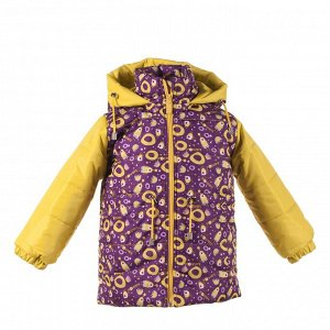 Куртка зимняя Арт. 05033 фиолетовые монстры+желтый