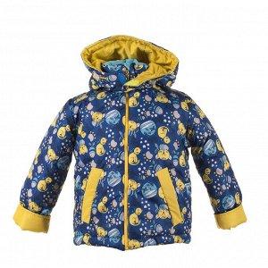 Куртка зимняя Арт. 04023 кот и рыбки-желтый