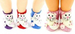"""Носки детские """"Hobby Line""""/12/вязаные, АВС, обьемная игрушка, кот"""