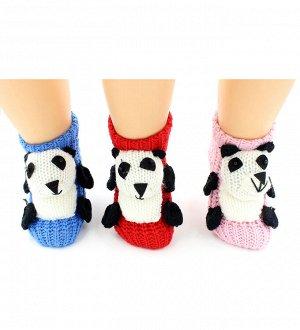 """Носки детские """"Hobby Line""""/12/вязаные, АВС, обьемная игрушка, панда"""