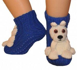 """Носки детские """"Hobby Line""""/12/вязаные, АВС обьемная игрушка, белый медведь"""