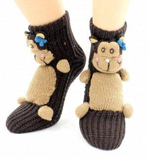 """Носки детские """"Hobby Line""""/12/ ABC, вязаные, обезьянка с бантиком"""