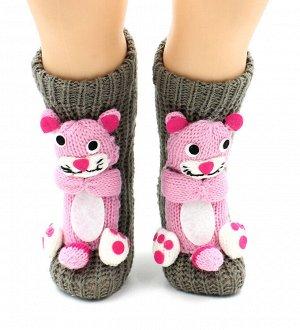 """Носки детские """"Hobby Line""""/12/ вязаные, АВС, розовая пантера на сером"""