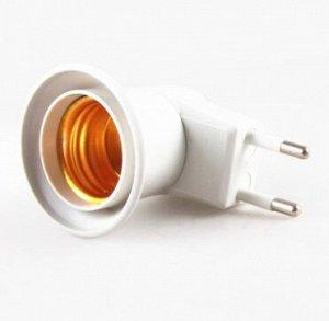 Переходник вилка-патрон E27 удлиненный, с выключателем, белый
