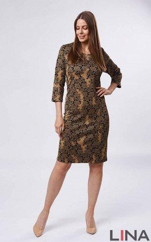 """Платье черно-бел , коричневый., Фиолет, черн.Платье женственного фасона """"футляр"""", с рукавами средней длины, глубоким полукруглым вырезом горловины. Сзади расположен небольшой разрез. Полуприталенный с"""