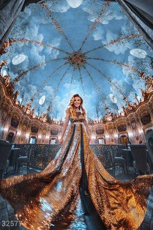 Платье-макси золотистого цвета