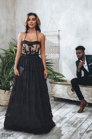 Многослойное платье-бюстье