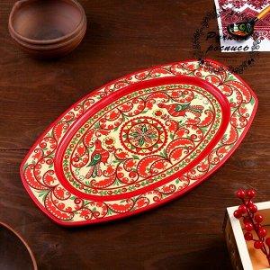 Поднос, овальный, 29x21x1,5 см, пучужская роспись