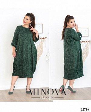 Платье №4110-1-темно-зеленый