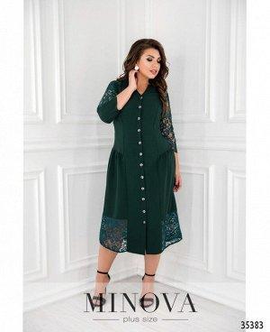 Платье №00083-темно-зеленый
