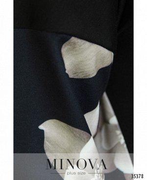 Платье №144-1-черно-бежевый