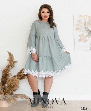 Платье №736-1-зеленый