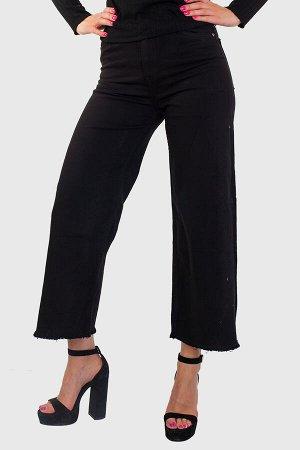 Черные широкие женские джинсы - высокая посадка, естественная бахрома по нижнему краю №251