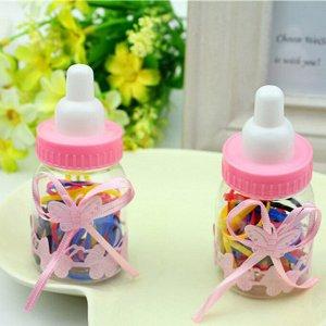 Резинки силиконовые для волос в кукольной бутылочке, набор из 40 штук