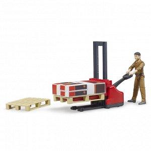 Фигурка работника логистической службы UPS с погрузчиком и аксессуарами