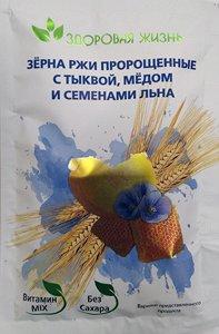 Зёрна ржи пророщенные с тыквой, мёдом и семенами льна пакетик 35 гр.