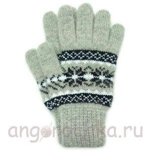 Светло-серые шерстяные перчатки с рисунком - 400.156