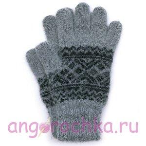 Мужские вязаные перчатки с черным орнаментом - 400.150