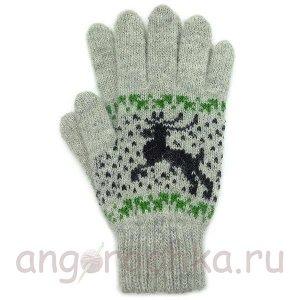 Светло-серые шерстяные перчатки с оленями - 400.160