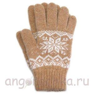 Бежевые теплые шерстяные перчатки со снежинкой - 400.166