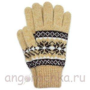 Бежевые шерстяные перчатки - 400.153