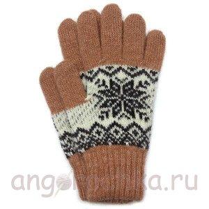Терракотовые теплые шерстяные перчатки со снежинкой - 400.165