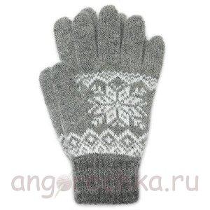 Серые шерстяные перчатки со снежинкой - 400.163