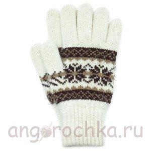 Белые шерстяные перчатки с орнаментом - 400.157