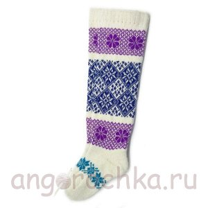 Женские шерстяные гольфы с фиолетово-синим рисунком - 800.61