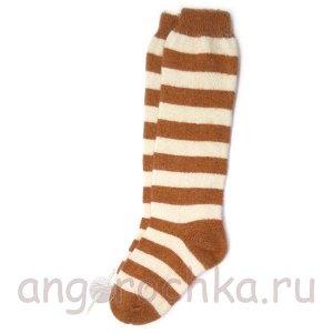 Женские шерстяные гольфы в светло-коричневую полоску - 805.26