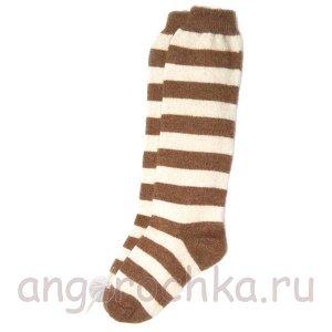 Женские шерстяные гольфы в коричневую полоску - 805.25