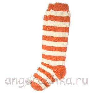 Женские шерстяные гольфы в оранжевую полоску - 805.24