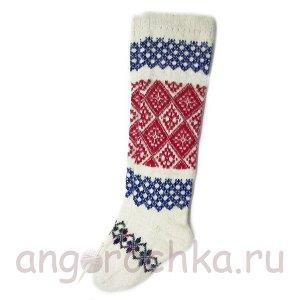 Женские шерстяные гольфы с красным и синим орнаментом - 800.58