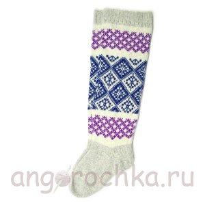Женские шерстяные гольфы с синим и фиолетовым орнаментом - 800.57