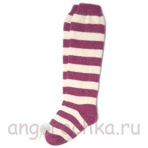 Женские шерстяные гольфы в бордовую полоску - 805.21