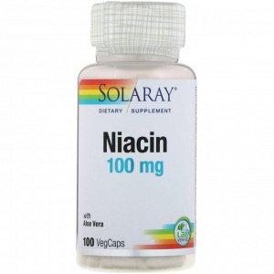 Solaray, Ниацин, 100 мг, 100 растительных капсул
